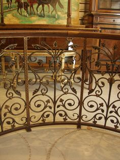 19th c Wrought Iron Balcony Railing With Wood Hand Rail From Italy