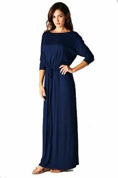 On Trend Women's Jersey Knit Long Maxi Dress Drawstring Belt (Small, Navy) On Trend,http://www.amazon.com/dp/B00FKEHK5E/ref=cm_sw_r_pi_dp_dCfvsb04Q9QBF7DJ