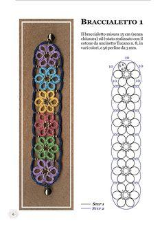 Il libro contiene 9 modelli di braccialetti realizzati con la tecnica del chiacchierino ad ago. Ogni modello è accompagnato dagli schemi, dalla descrizione e dalle immagini che illustrano in modo chiaro il procedimento.