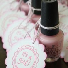 What a fun party favor for the next baby shower... Pale pink nail polish.