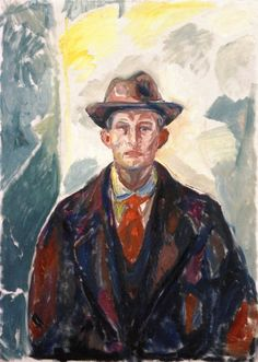 Self-Portrait with Hat and Red Tie.by Edvard Munch