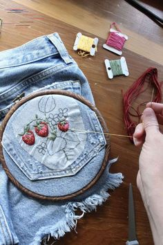 Have you ever wondered how to embroider clothes? It's really pretty simple! In this post, I'll go over some tips and tricks. % # Easy DIY clothes How to Embroider Clothes - Easy DIY - Crewel Ghoul Embroidery On Clothes, Embroidered Clothes, Embroidery On Denim, Diy Embroidered Jeans, Hand Embroidery Stitches, Embroidery Art, Simple Embroidery, Diy Embroidery Designs, Couture Embroidery
