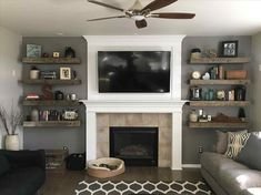 Image result for fireplace and floating shelves
