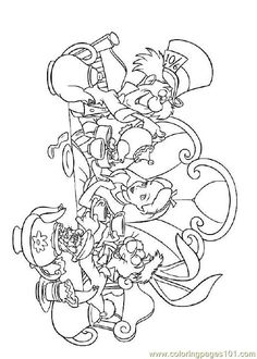 Alice in Wonderland coloring pages could be used as embroidery patters