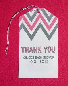 Pink Grey Chevron Baby Shower Large Favor Tag by FavorsbyLauren, $10.00