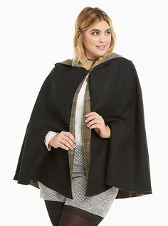 Plus Size Outlander Fraser Tartan Reversible Cape, DEEP BLACK