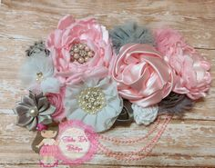 Pink/Gray maternity sash by SandraDsBoutique on Etsy