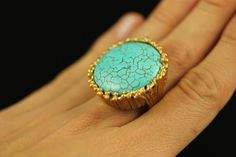 Turquoise Gemstone Gold Ring  Turkish Jewelry   by Izkurt on Etsy