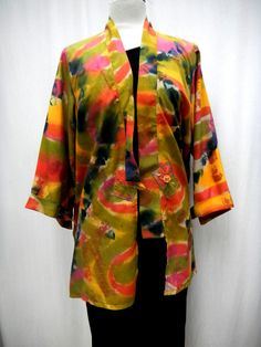 handpainted easy- fitting Kimono jacket, silk broadcloth..perfect for dress up and casual wear at Ms. Emma Designs/Toronto