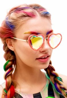 Coachella Prism hearts glasses by h0les eyewear