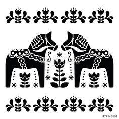 Wektor: Swedish Dala or Daleclarian horse black and white folk art