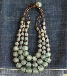 African glass beads - have some this beautiful colour - now to string them like this...