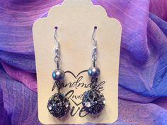 Earrings/Dangle Earrings/Silver Pearl Earrings/Cut Glass by BonKim