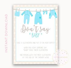 Clothes pin game sign, Dont say baby, Boy baby shower clothespin game, Printable baby shower game ideas, Gender reveal games ideas, PAW113 de PrintableArtWishes en Etsy https://www.etsy.com/es/listing/544951716/clothes-pin-game-sign-dont-say-baby-boy
