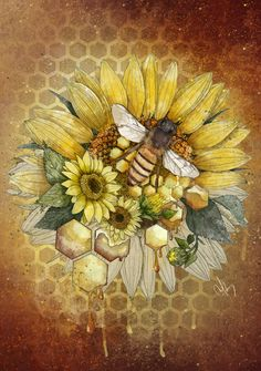 Wild Honey by Marine Loup Honey Bee Tattoo, Bumble Bee Tattoo, Bee Painting, Sunflower Art, Sunflower Drawing, Sunflower Tattoos, Wild Honey, Bee Art, Poster Prints