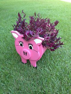 Wooden Animal Planter Pig