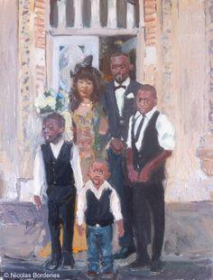 Fabrice et sa famille, oil  on board, 35 x 27 cm, 2014.