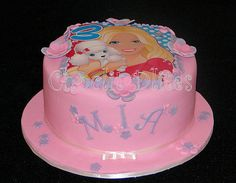 Mia's barbie cake with Barbie edible print and fondant flower detail. Photo Cakes, Edible Printing, Barbie Cake, Fondant Flowers, 3rd Birthday, Food Videos, Ale, Detail, Creative