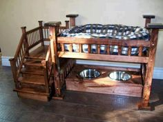 Bunks for the dogs but move the water out of the way. I wish there was a log cabin-ish design for this bunk with the stairs.