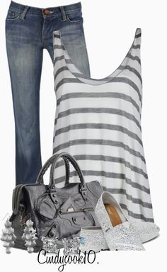 Get Inspired by Fashion: Casual Outfits | Striped Tank find more women fashion on misspool.com