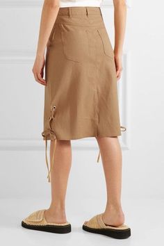 See by Chloé - Lace-up Linen-blend Midi Skirt - Camel - FR38