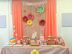 Flower Garden for girl baby shower dessert table
