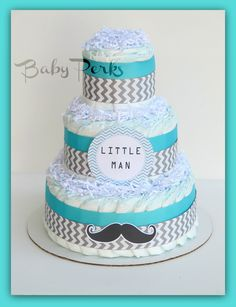 Mustache / Little Man Baby Shower, Little Man Diaper Cake , Mustache Baby Shower, Baby Shower Decorations, Chevron Turquoise Grey