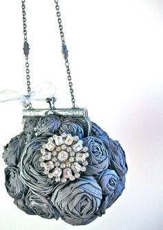 Ah may zing! Couture Evening Handbag in Dupioni Silk Shantung w/Vintage Brooch by Wrapped in Clover