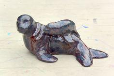 Keramiek zeehond met jong