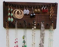 FREE SHIPPING! Jewelry Organizer Necklace Holder Earring Storage Display Wall Hanging Rack/ Reclaimed Wood & Rustic Nails in Walnut