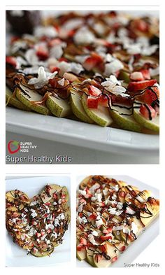 Fruit Nachos. A Sweet and Healthy Treat - Freshly shaved coconut makes these apple nachos even better! http://www.superhealthykids.com/fruit-nachos-a-sweet-and-healthy-valentines-treat/