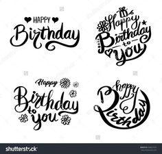 Beautiful greeting card poster with calligraphy. Beautiful greeting card poster with calligraphy. Handwritten modern brush lettering on a white background isolated vector Happy Birthday Doodles, Happy Birthday Hand Lettering, Happy Birthday Font, Happy Birthday Calligraphy, Happy Birthday Drawings, Happy Birthday Posters, Happy Birthday Beautiful, Birthday Wishes, Cricut Birthday Cards