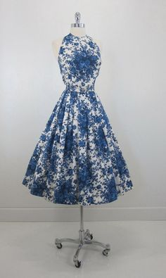 Vintage 50's Blue Toile English Rose Garden by bombshellbettys, $169.99