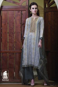 Party Wear Grey Cotton Palazzo Suit