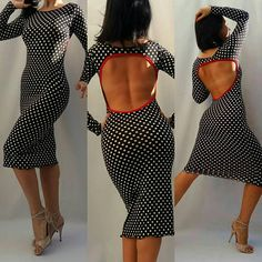 A sweet and sexy tango dress fashioned out of polka dots elastic jersey and finished with a red trim on the back. Available in size: • XS • S • M • L SIZING XS: • Bust 82-89 cm/32-35 inch • Waist 60-67 cm/23-27 inch • Hips 88-93 cm/34-36 inch S: •Bust 89-97 cm/34-38 inch •Waist 68-74