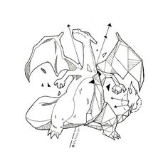 Best Geometric Tattoos And Symbolism Pokemon Tattoo, Charizard Tattoo, Geometric Drawing, Geometric Art, Animal Drawings, Cool Drawings, Gamer Tattoos, Tattoo Sketches, Geeks