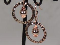 Copper Hoop Dangle Earrings by MyCreativeOasis on Etsy