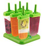 #3: 6 Popsicle Molds  Ice Pop Maker Set with Tray and Drip Guard BPA Free Green  By Chuzy Chef