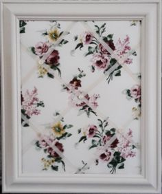 Ivory Framed, Chintz style floral fabric, Pin/Memo/Message/ Notice Board by http://www.beautifulanduseful.co.uk/