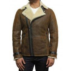 02b96d7bf9 Men s Luxury Double Aviator Rust Brown Real Shearling Sheepskin Leather  Flying Jacket Coat - Fay Sheepskin
