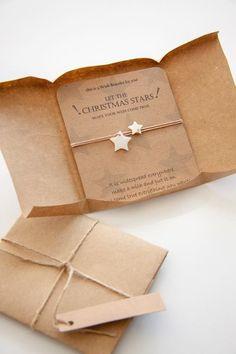 Christmas wish bracelet, Star wish bracelet, Wish bracelet friends, holiday favor gift , Christmas g Creative Gift Wrapping, Creative Gifts, Craft Packaging, Packaging Ideas, Diy Bracelet Packaging, Creative Gift Packaging, Packaging For Jewelry, Cute Packaging, Bijou Box