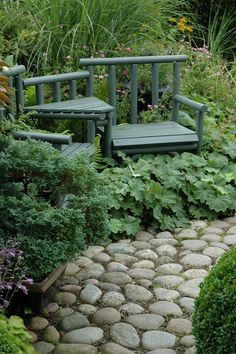 Love the tucked away seating and the big stone path - add a little moss in between and it WOULD be heaven! River Rock Path, Rock Pathway, Garden Borders, Stone Garden Paths, Stone Path, Garden Steps, Beautiful Gardens, Walkway Ideas, Path Ideas