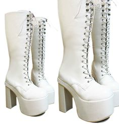 "Goth Punk Visual Kei Cosplay Nurse Guro Loli 6"" Chunky Heel Platform Knee White #PlatformsWedges"