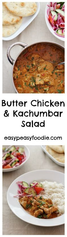 Butter Chicken and Kachumbar Salad - easypeasyfoodie.com