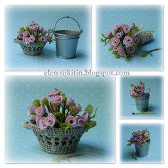Розы, ведро и корзина.