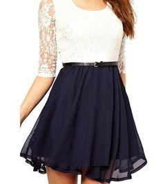 OYMMENEY Damen Kleid mit Spitze Sommerkleid shirt Tunika tunikakleid Bluse Oberteil Damenbluse Kleider Top Kurz Knielang Sommer