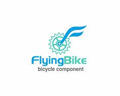 FLYING BIKE Logo design - Gear bike with a wing-shaped F has a higher significance to innovation in manufacturing bicycle components that are lighter, stronger. Price $189.10
