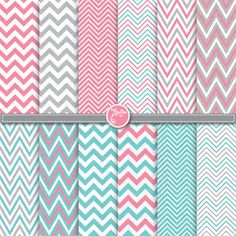 chevron digital paper pack pink aqua blue grey por YenzArtHaut, $3,50