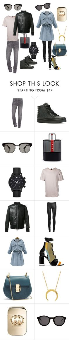 """""""Cool couple..."""" by laura-vitale ❤ liked on Polyvore featuring True Religion, Gucci, Prada, Emporio Armani, Factotum, Neil Barrett, Rick Owens, WithChic, Pierre Hardy and Chloé"""