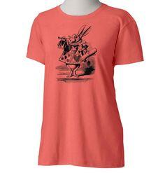 Womens White Rabbit Alice in Wonderland Coral by SamsaraPrints, $18.00 #shirts #shirt #tshirt #ladies #women #apparel #fashion #style #clothing #etsy #shopping #tops #blouse #tee #alice #in #wonderland #rabbit